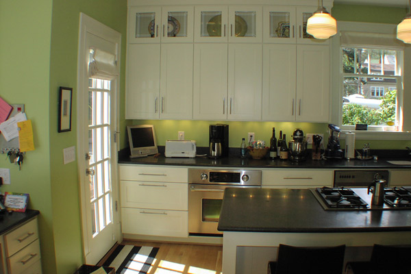 kitchen with top row display cabinets